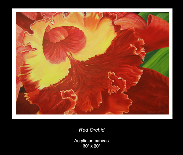 Acrylic Painting of Red Orchid