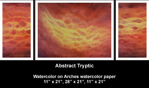 Abstract Watercolor Tryptic Painting