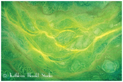 Abstract Watercolor Painting | Green | Yellow