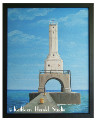 Breakwater Lighthouse Port Washington WI Acrylic Painting