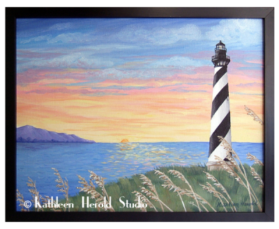 Cape Hatteras Lighthouse Acrylic Painting