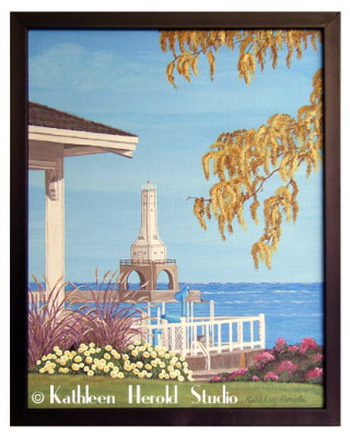 Breakwater Lighthouse from Rotary Park, Port Washington, WI Acrylic Painting